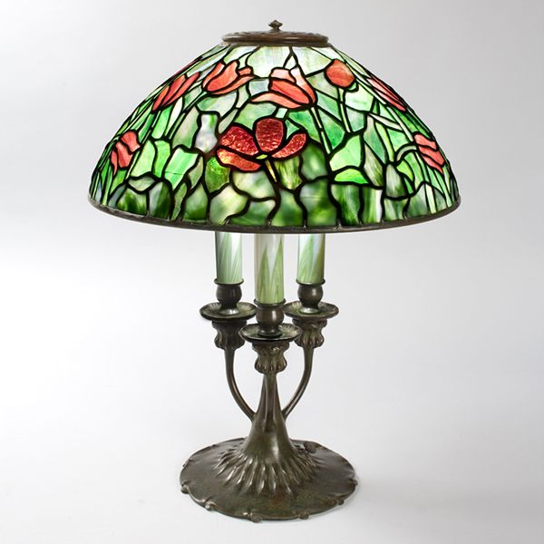 Tulip tiffany lamp a tiffany studios new york glass and bronze tulip
