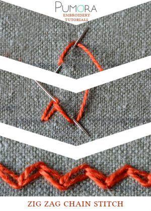 Pumora's embroidery stitch-lexicon: zig zag chain stitch tutorial