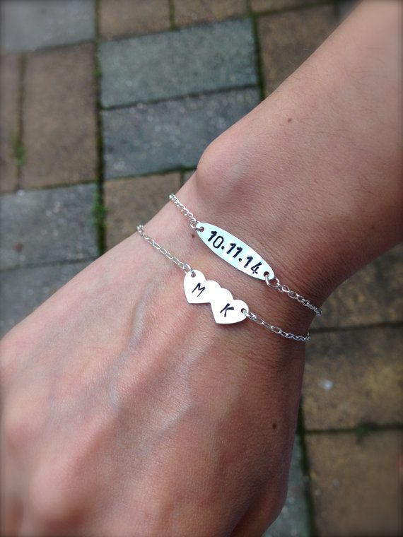 Custom Sterling Silver Bracelets. Initial Bracelet and Date Bracelet Set