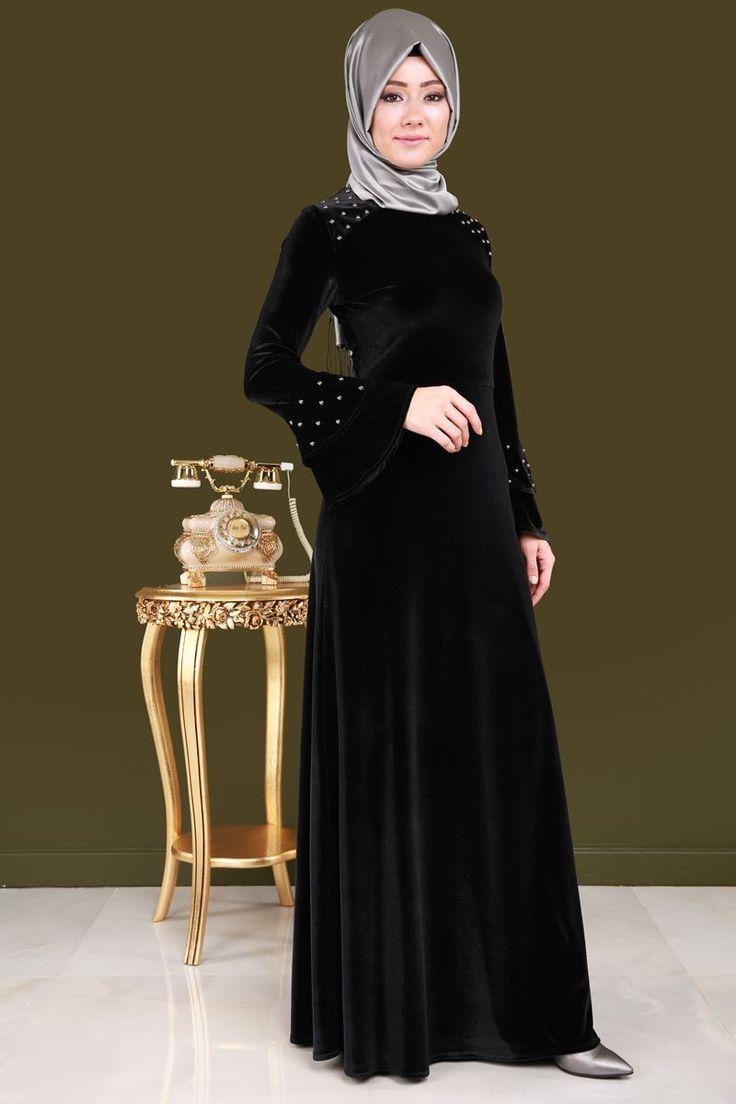 ** YENİ ÜRÜN ** İnci Baskı Tesettür Kadife Elbise Siyah Ürün Kodu: MDB3855 --> 89.90 TL