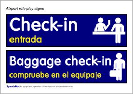 Airport role-play signs (with Spanish) (SB2482) - SparkleBox