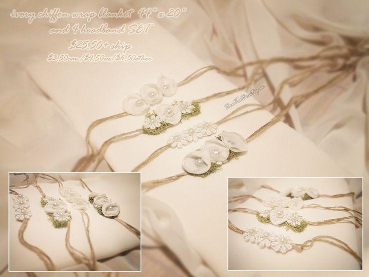 140907 - Ivory chiffon wrap set / Beeteeboutique - newborn photography wrap blanket ivory props prop set.