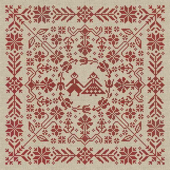 Nordic Pattern-Free | Swedish Folk Cushion - Cross Stitch Pattern - Instant Download PDF ...