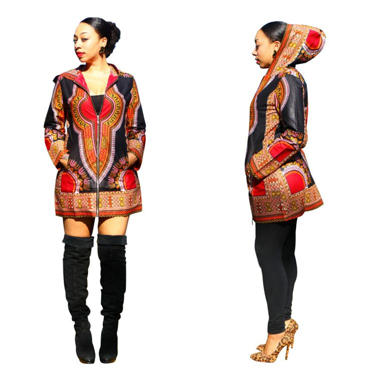 Lightweight women's hooded jacket in African dashiki style and colors. - Polyester - Versatile - Hooded - Fashionable and Stylish - For Any Occasion