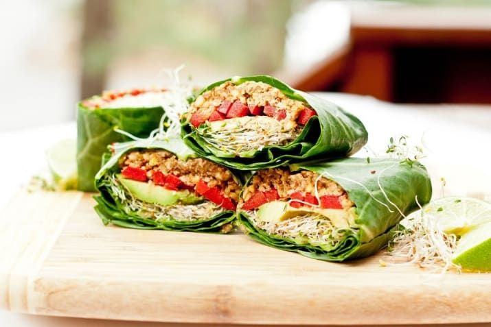 Bell pepper, avocado, sprouts, pecans, tamari, and spices. Get the recipe.