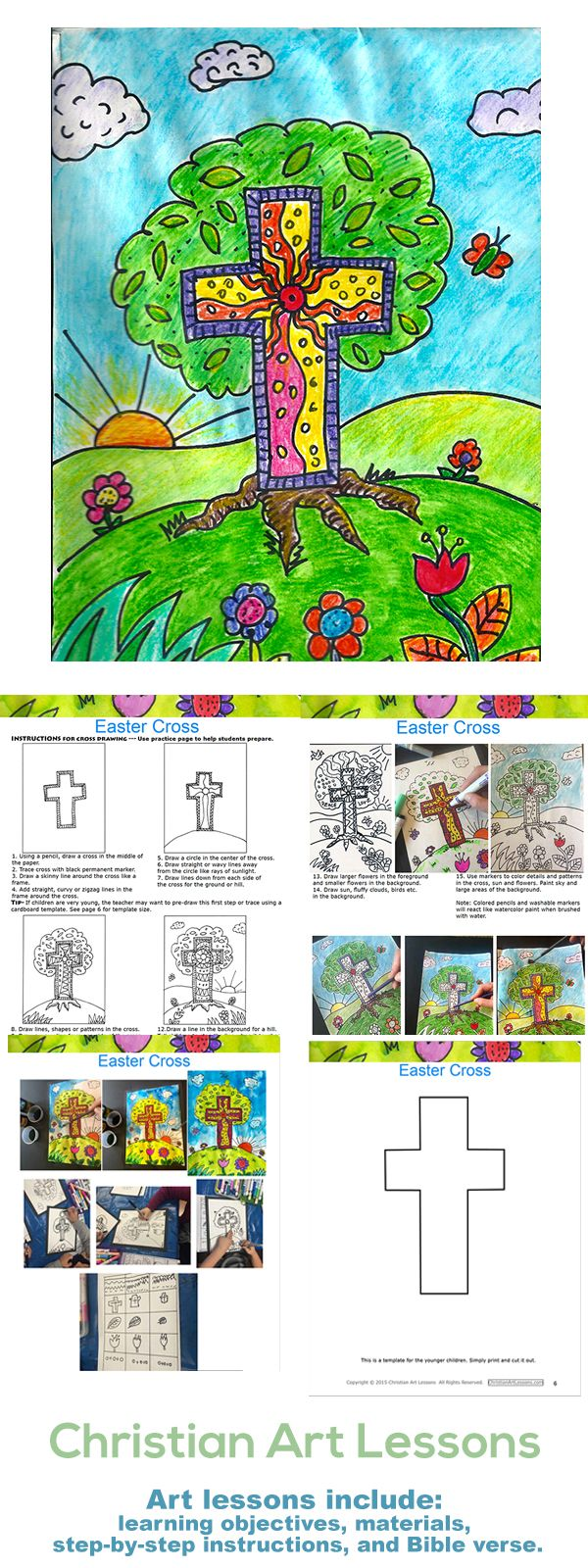 Easter Cross Free Art Lesson Free art lesson for Easter drawing with markers and painting in watercolor for Kindergarten -3rd grade with step-by-step instructions. http://www.christianartlessons.com