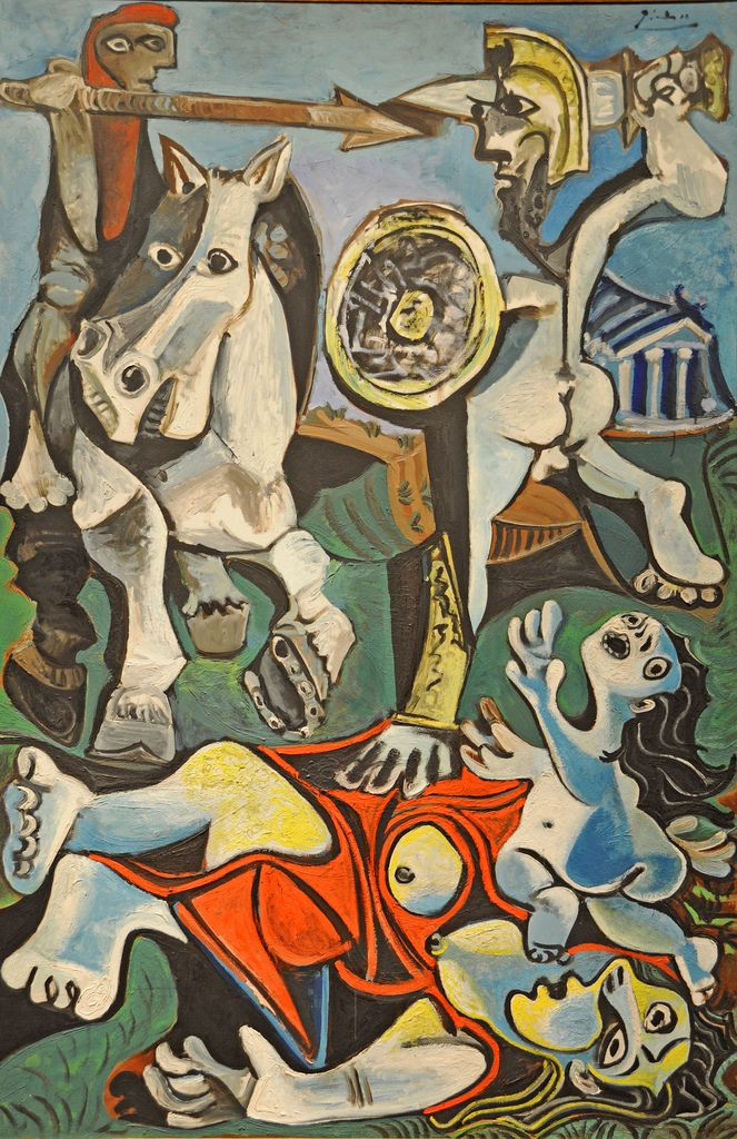 Rape of the Sabine Women, Pablo Picasso, MFA, Boston Painted when he was eighty-two, this is Picasso's last major statement about the horrors of war, perhaps inspired by the Cuban missile crisis. Here, Picasso transforms a familiar subject from the art of the past-the story of early Romans who, suffering a shortage of marriageable women, invited the neighboring Sabines to Rome and then carried off all their young women.