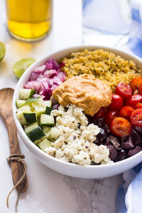 This Mediterranean Quinoa Salad Bowl is loaded with delicious and ...