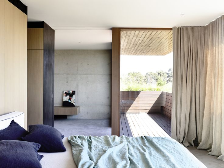 Rob Kennon Architects // In-situ House // concrete; timber; linen; s-fold curtains