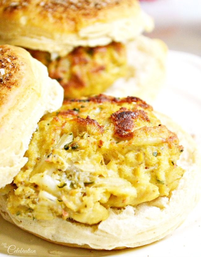 """Delicious, broiled crab cakes taste even better on Pillsbury Grands, transformed into """"crabby"""" biscuits with melted butter, Old Bay & kosher salt! At littlemisscelebration.com"""