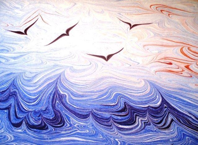 özgürlük - Boyama,  30x47 cm ©2003 Esengul Inalpulat tarafından -            marbling art, ebru, ebruzen, turk sanati, kuslar, deniz