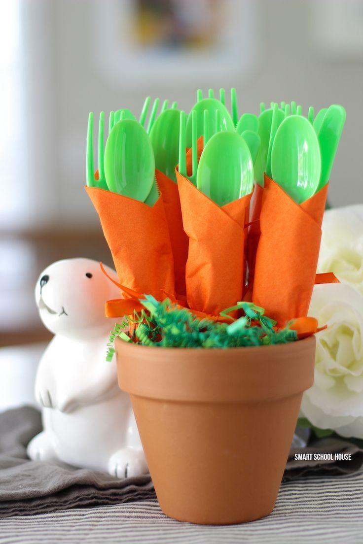 Carrot Napkin Utensils - DIY bushel of carrots for Easter utensils! Green utensils wrapped in an orange napkin to look like carrots. #carrot #napkins #easter