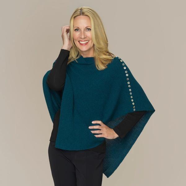 Elana links knit baby alpaca poncho teal blue green