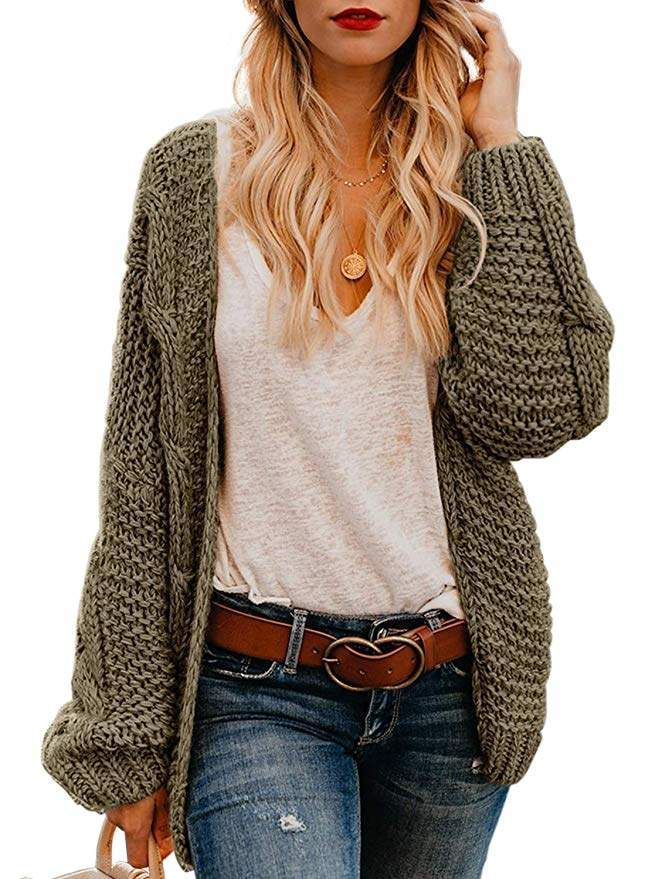 WINTER FASHION TRENDS 2019! Astylish Women Open Front Long Sleeve Chunky  Knit Cardigan Sweaters Loose Outwear Coat  Amazon  fashion  trends   fashionista ... 57ae1dcb8