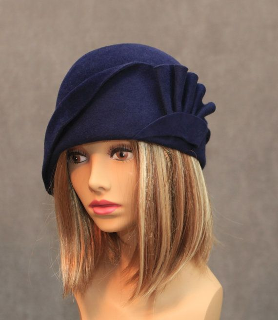 Amber Velour Felt Cloche with draped pleated swirls by LuminataCo