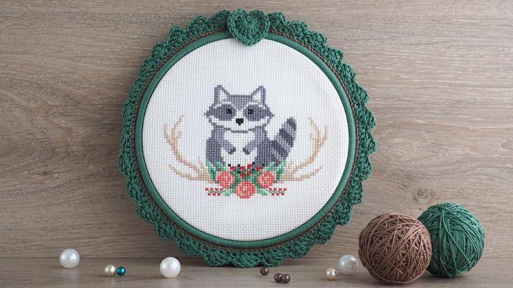 raccoon cross stitch