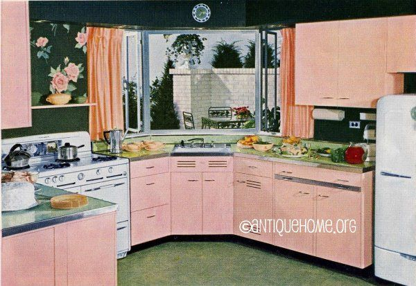 A dream kitchen design for your retro 1950s Atomic Ranch. Totally pink!  More kitchens from this book  Ranch Style House Plans   Leicht Boston Boston Kitchen: Idea, Vintage Kitchens, 1950S Kitchen, Pink Kitchens, 1940S Kitchen, Kitchen Designs, Retro Kitchens