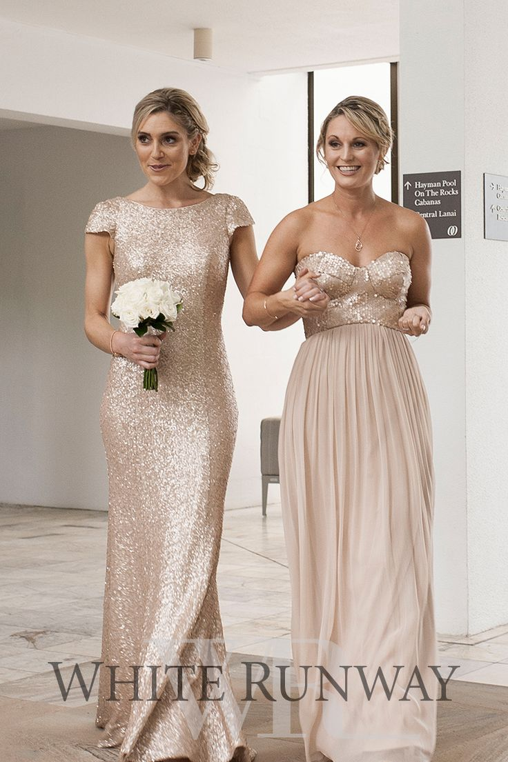 Best 25 gold bridesmaid gowns ideas on pinterest gold sequin three of the bidesmaids wore the azaria silk sequin dress sequinned cap sleeve gown and emerence dress ombrellifo Choice Image