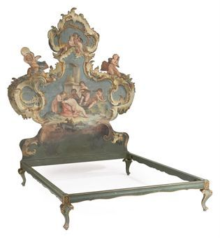 AN ITALIAN PAINTED PINE PANEL   PROBABLY VENETIAN, 18TH CENTURY AND LATER ADAPTED   Later adapted to form a bed, of assymmetrical outline depicting various putti playing musical instruments and convorting among Classical ruins and rocaille, later bottom section and rails  92 in. (234 cm.) high; 70½ in. (179 cm.) wide; 84¾ in. (215.5 cm.) deep  5gbp against a pae of 12-18