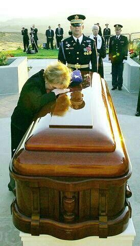 Nancy Reagan at Ronald Reagan's casket