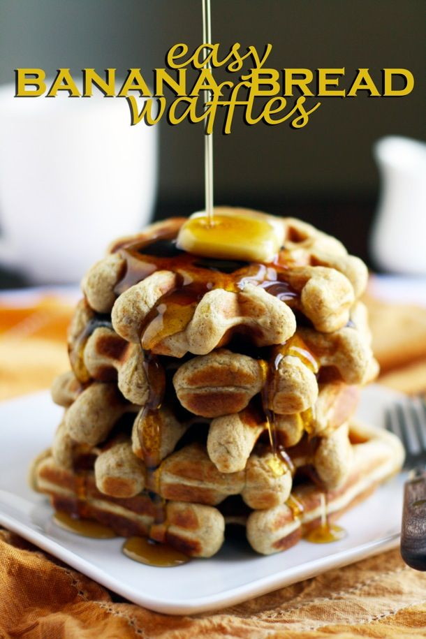 easy whole grain banana bread waffles - healthy, delicious and made in minutes!