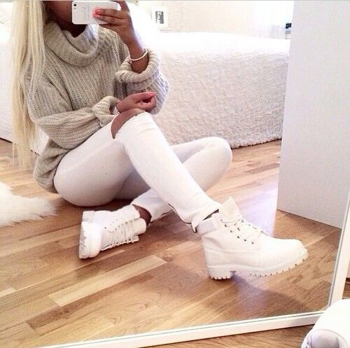 White pants and White Timberland                                                                                                                                                     More