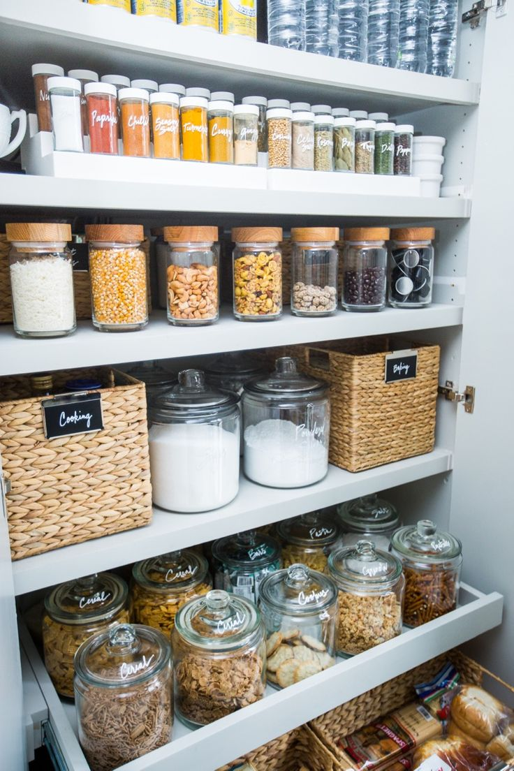 Beautiful kitchen pantry organization.