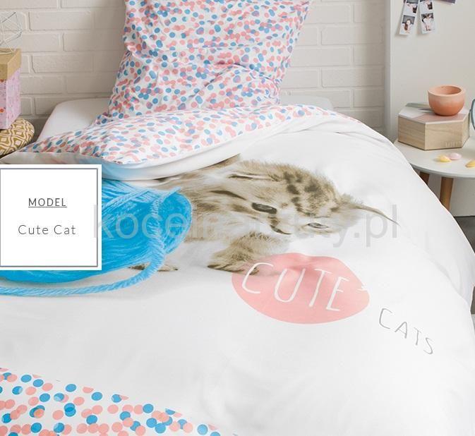 Biała pościel dla dzieci z kotkiem bawiącym się włóczką