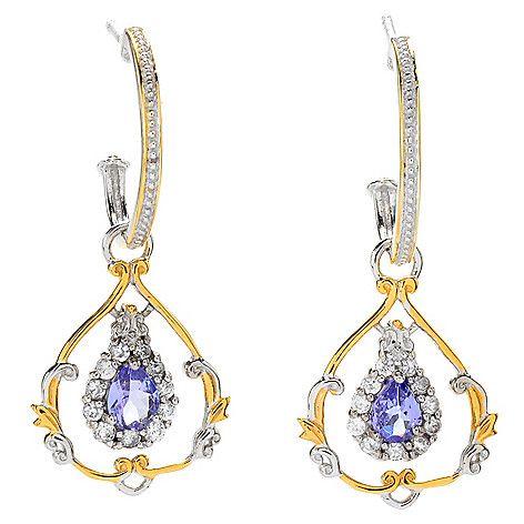 """161-104 - Gems en Vogue 1.5"""" 1.10ctw Tanzanite & White Zircon Dangle Earrings"""