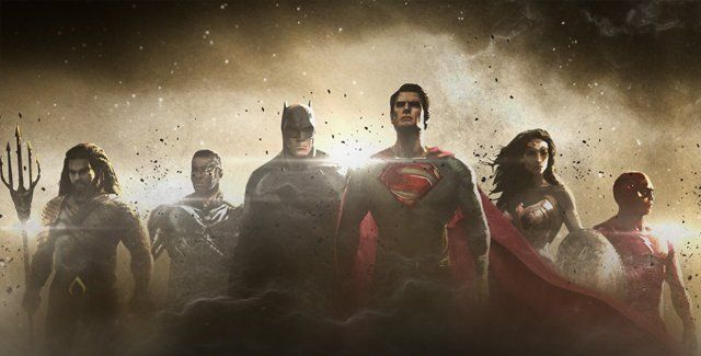 Ben Affleck, Henry Cavill, Jason Momoa, Gal Gadot, Ezra Miller and Ray Fisher in The Justice League Part One (2017)