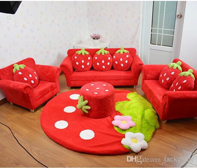 Leather Sectional Sofa Online Cheap Coral Velvet Children Sofa Chairs Cushion Furniture Set Cute Strawberry Style Couch For Kids Room Decor Christmas Birthday Gift By