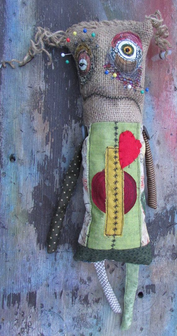 RESERVED FOR DEBRA pin eyed voodoo doll ooak handmade art doll