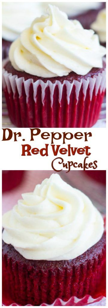 Tender, moist, and rich red velvet cupcakes, spiked with Dr. Pepper for ultra-unique flavor. These Dr. Pepper Red Velvet Cupcakes are topped with creamy, fluffy, tangy cream cheese frosting!