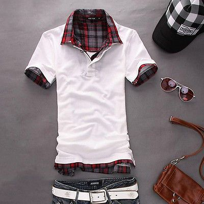 HOT US Mens Shirt Summer Double Neck Casual Fashion T-shirts Tees Tops ON SALE