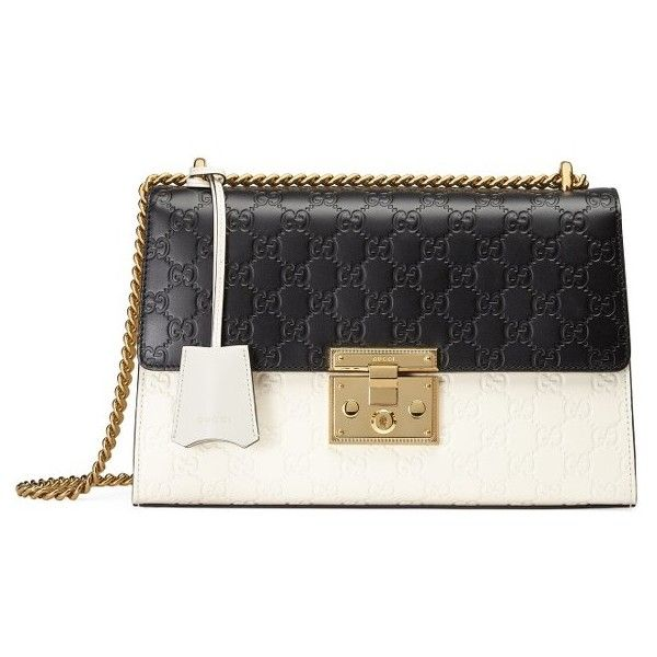 Women's Gucci Medium Padlock Signature Leather Shoulder Bag (€2.010) ❤ liked on Polyvore featuring bags, handbags, shoulder bags, genuine leather shoulder bag, black and white handbags, black and white shoulder bag, black and white purse and shoulder handbags