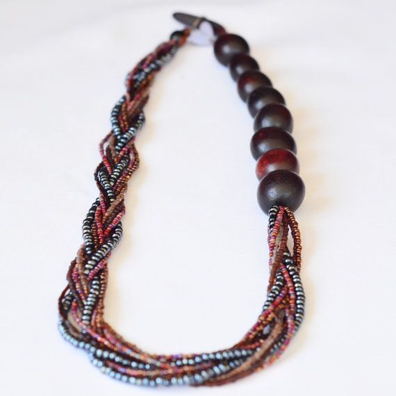 Braided Necklace with seed beads and Recycled by skyepiece on Etsy