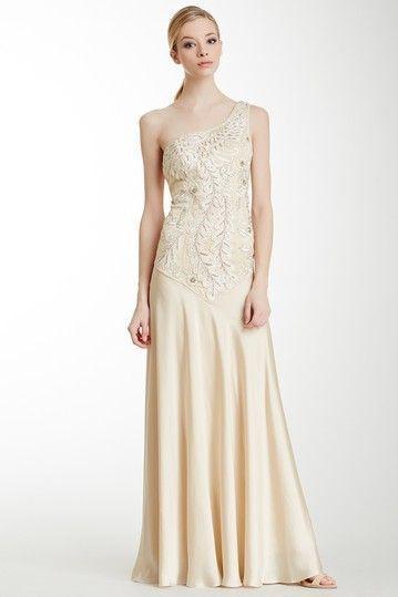 SUE WONG  One-Shoulder Passamenterie Evening Gown SZ 10  CHAMPAGNE #204 NWT #SUEWONG #OneShoulder #Formal