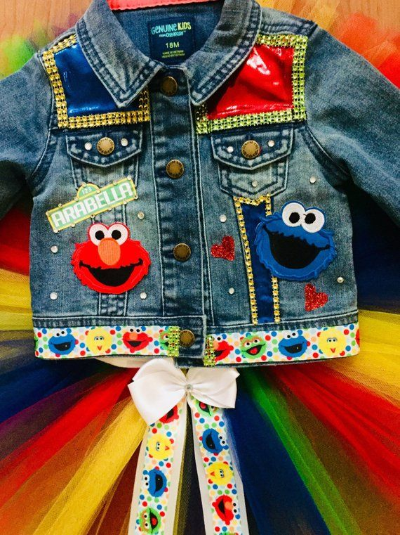 Sesame street themed denim jacket /& tutu set