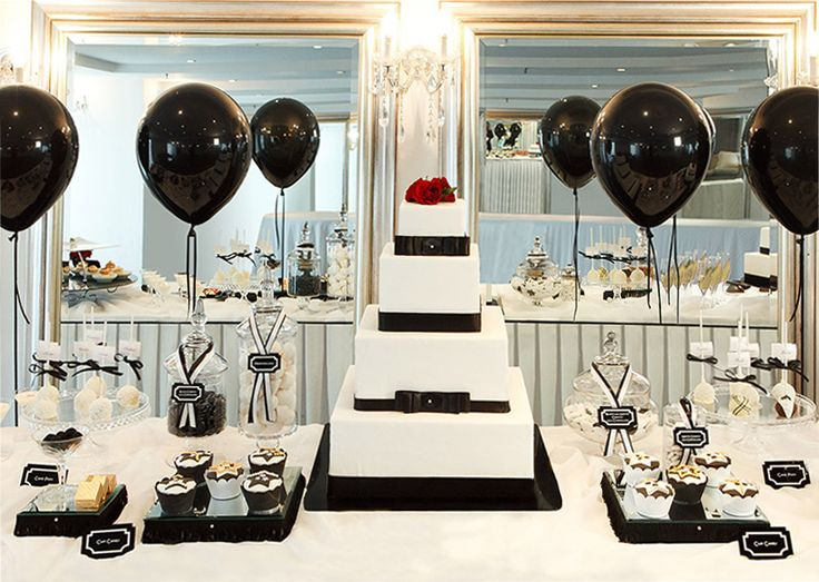 Black and white dessert table, a treat for your guests as well as a decorative centerpiece