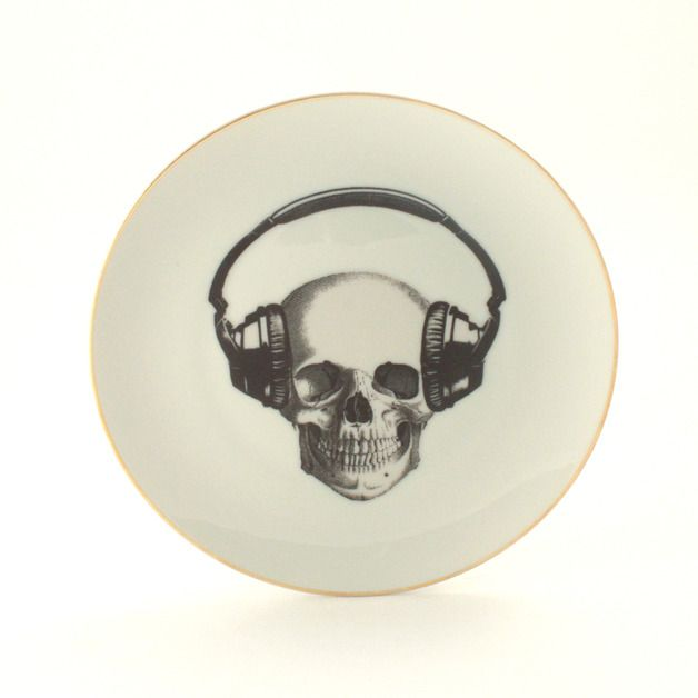 Halloween Decorations – Altered Porcelain Skull Plate Headphones Anatomy – a unique product by Mona-Lina on DaWanda