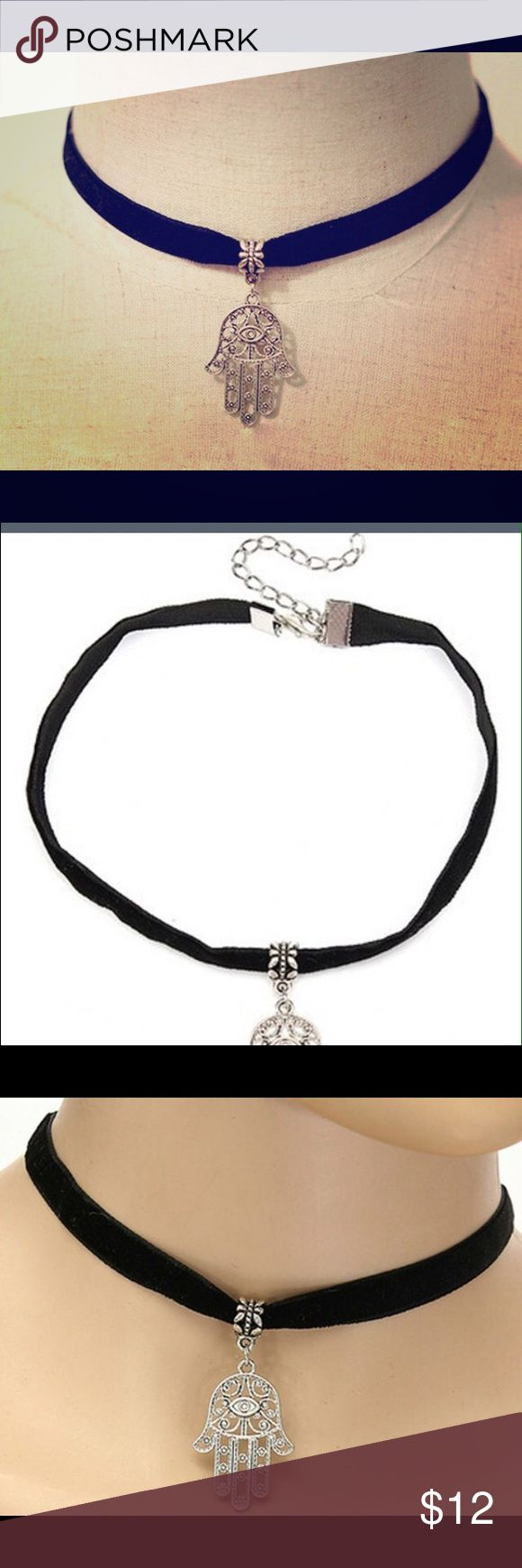 COMING SOON! Adjustable Black Choker w Hamza Charm Will update listing once available! Multiple pieces will be available. Black Choker, that is completely adjustable with a clasp in back. Hamza charm on front. Jewelry Necklaces