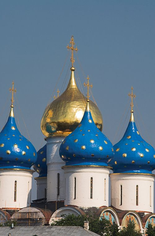 The blue cupolas of the Nativity Cathedral in Suzdal, Russia.