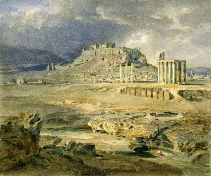 Carl Anton Joseph Rottmann, 1836, Η Ακρόπολις από τις Στήλες του Ολυμπίου Διός.