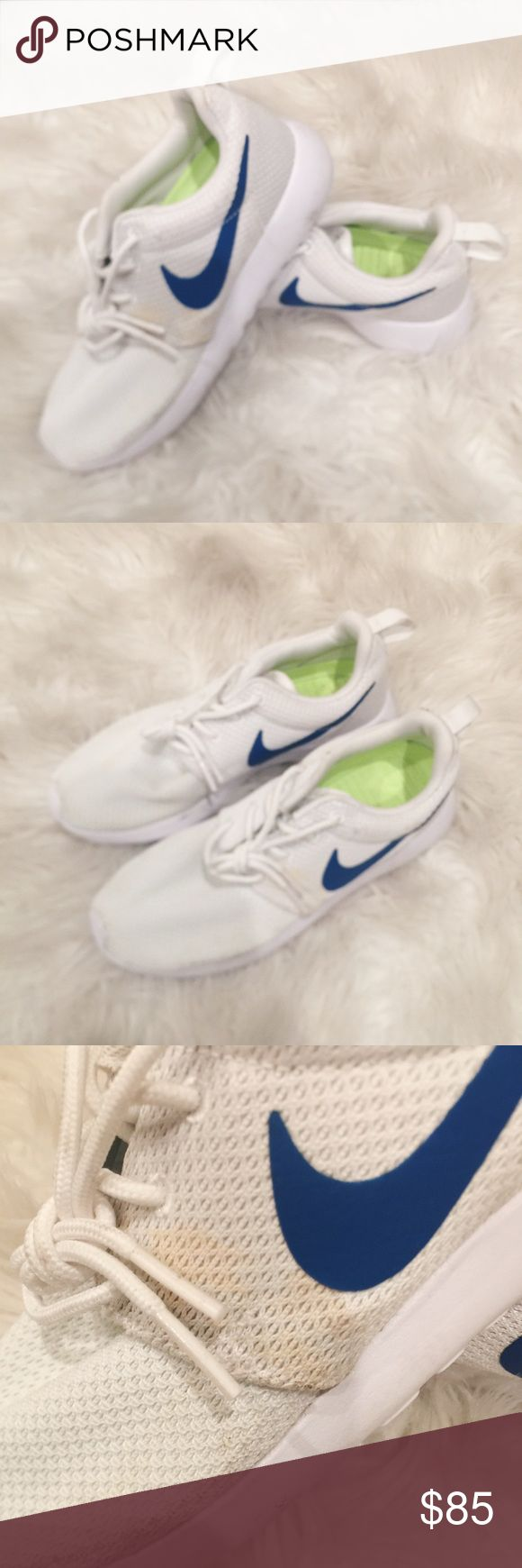 White & Blue Nike Roshes • BNWB, never worn • Nike ID'd • Flaws are shown in photos, these were in storage since I had them made, I've never worn them out, I'm 100% sure these marks and stains can be washed out • Price reflects flaws Nike Shoes Athletic Shoes