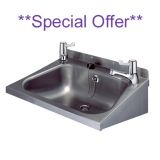 Stainless Steel 500 x 400mm Wash Hand Basin With Lever Taps