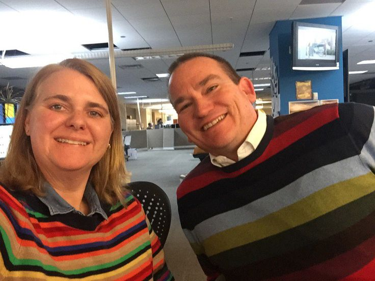 Based in Denver, The Denver Post is a daily newspaper and Colorado's leading source for breaking news and information. It has been published since 1892 and is among the most widely circulated newspapers in the US, with an average weekday circulation of 1.2m copies. Noelle Phillips took this sentimental office selfie with David Krause to mark his last day in the office.