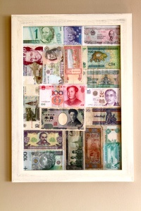 Foreign currency art- something to do with those few bills left after traveling.