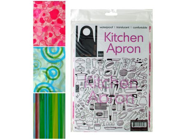 "Waterproof Kitchen Apron, 72 - Get cooking and don't worry about messing up your clothes with this Waterproof Kitchen Apron featuring a translucent, comfortable plastic apron that easily wipes clean. It measures approximately 27"" wide x 40"" long. Comes in three attractive designs. Comes packaged in a hanging poly bag. Package measures approximately 12"" x 8"".-Colors: yellow,green,blue,red,pink. Material: plastic. Weight: 0.0906/unit"