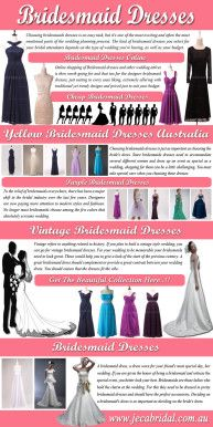 Browse this site http://www.jecabridal.com.au/bridesmaid-dresses/ for more information on Cheap Bridesmaid Dresses. Choosing bridesmaids dresses is just as important as choosing the Cheap Bridesmaid Dresses. When bridesmaids are happy with their dresses and look stunning they will give you and everyone else a lot of pride and pleasure and a wedding day to remember. By using this guide, you'll easily find the perfect looks for even your most style conscious attendants.