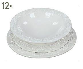 Set di 12 posti tavola in ceramica Ariel bianco - 36 pezzi